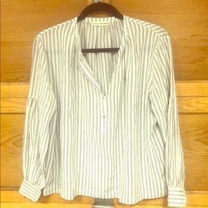 Striped 100% Silk Blouse